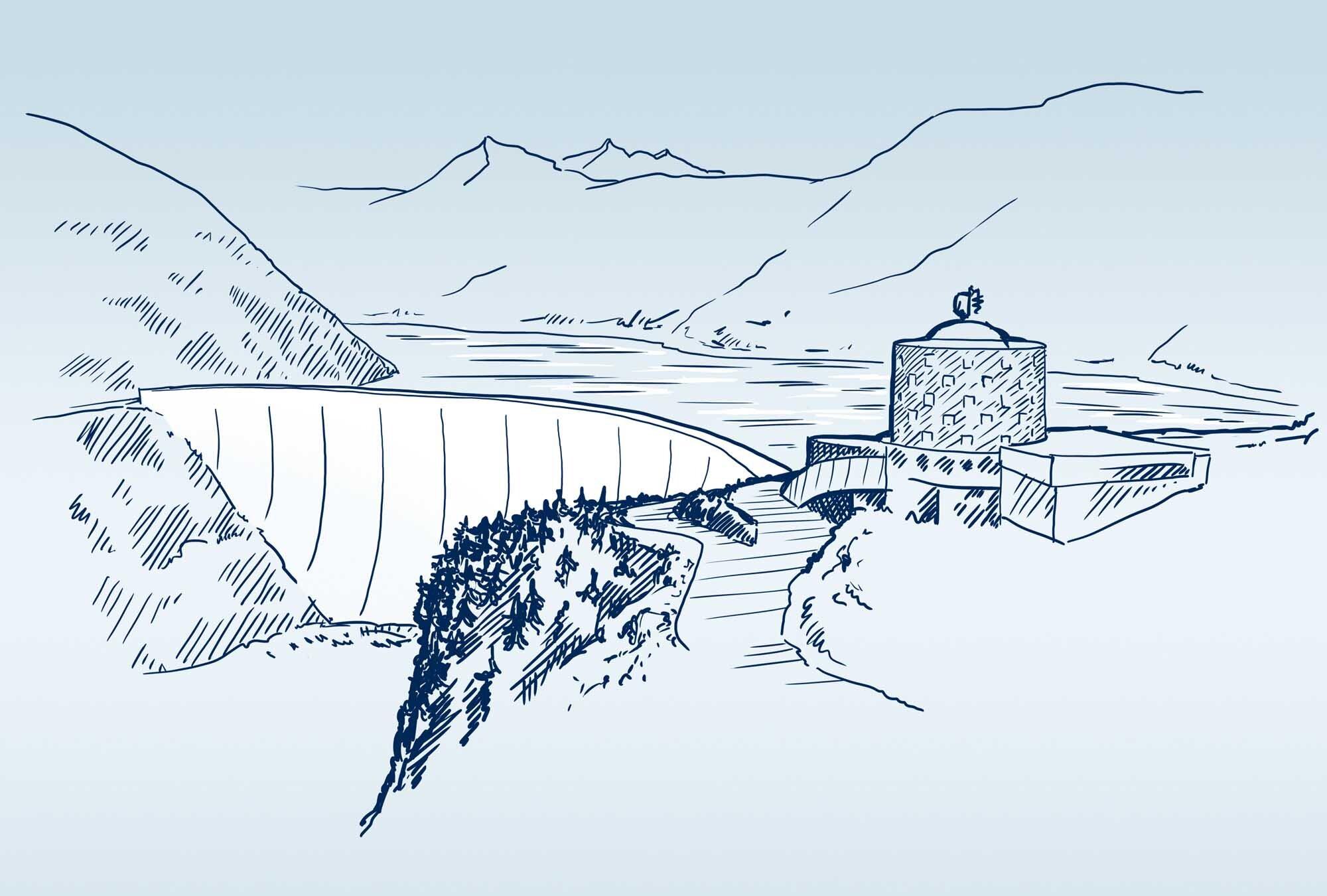 Wasserkraftwerk | Haslinger / Nagele, Illustration: Karlheinz Wasserbacher